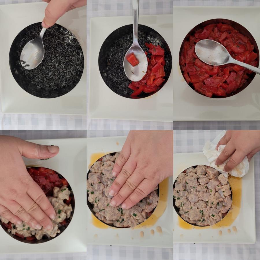 montando tartar de atun